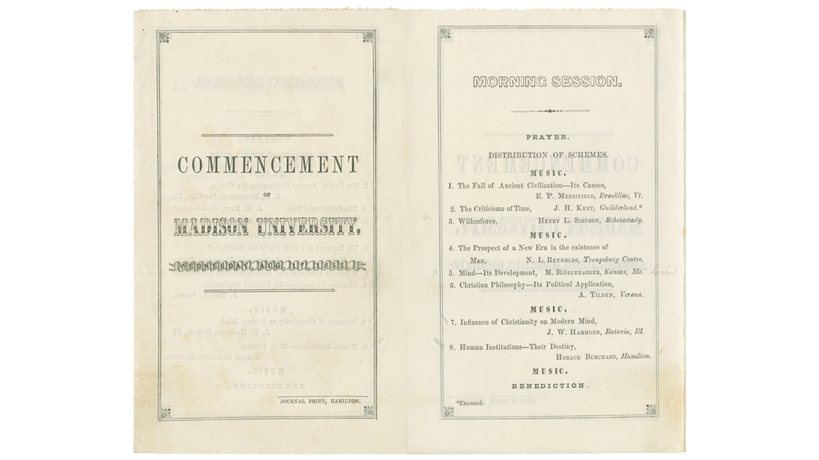 A page from the 1853 Madison University Commencement program.