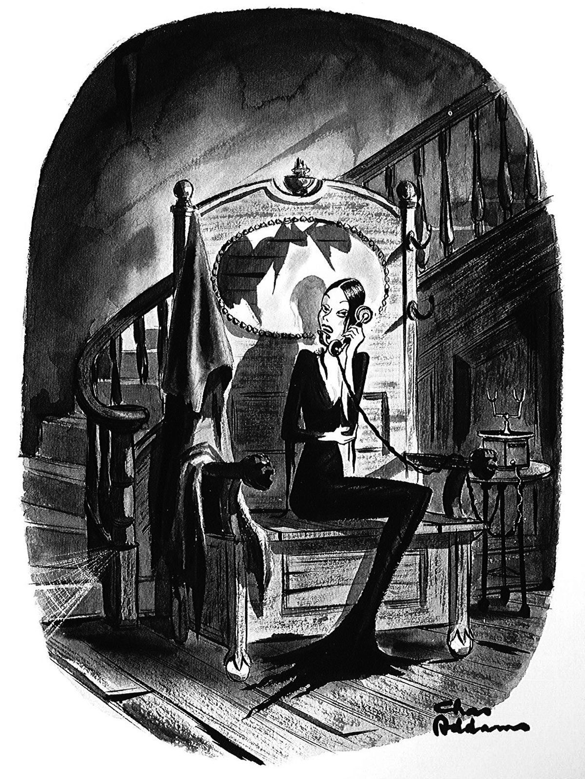 A cartoon of Morticia Addams on the phone.