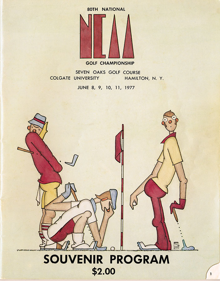 Illustrated program cover of three golfers for the 80th annual NCAA golf championship at Seven Oaks in June, 1977