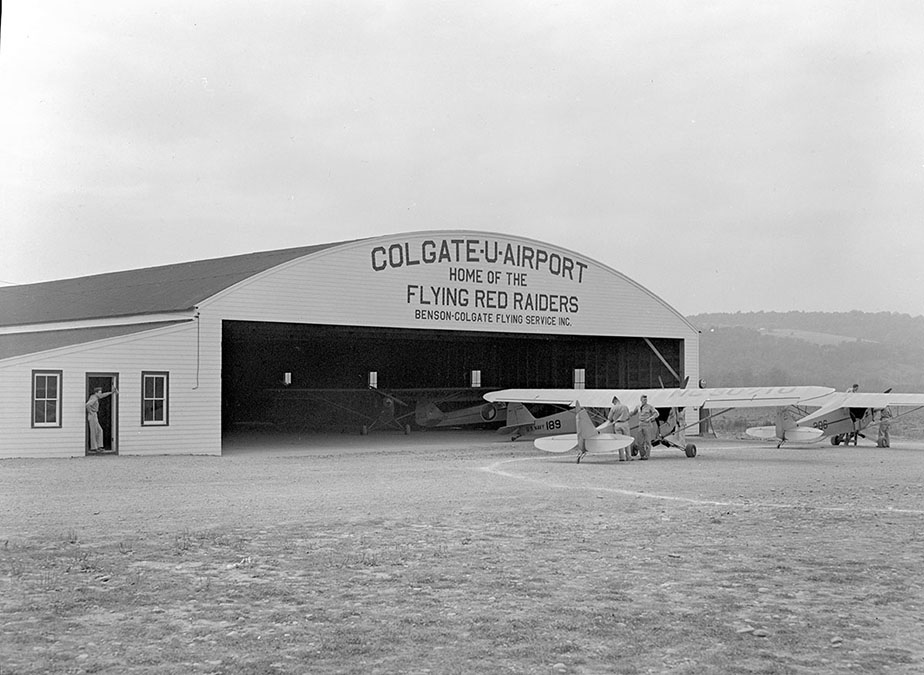 "Colgate's ""Flying Red Raiders"" airport in Bouckville, N.Y., 1943"