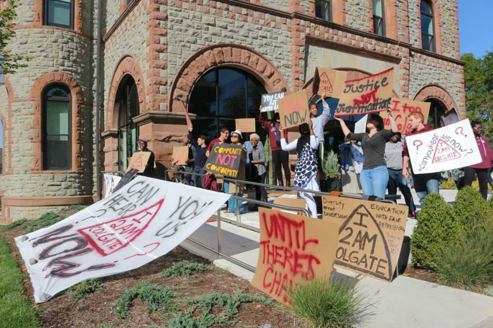 Students protest outside admissions center, 2014