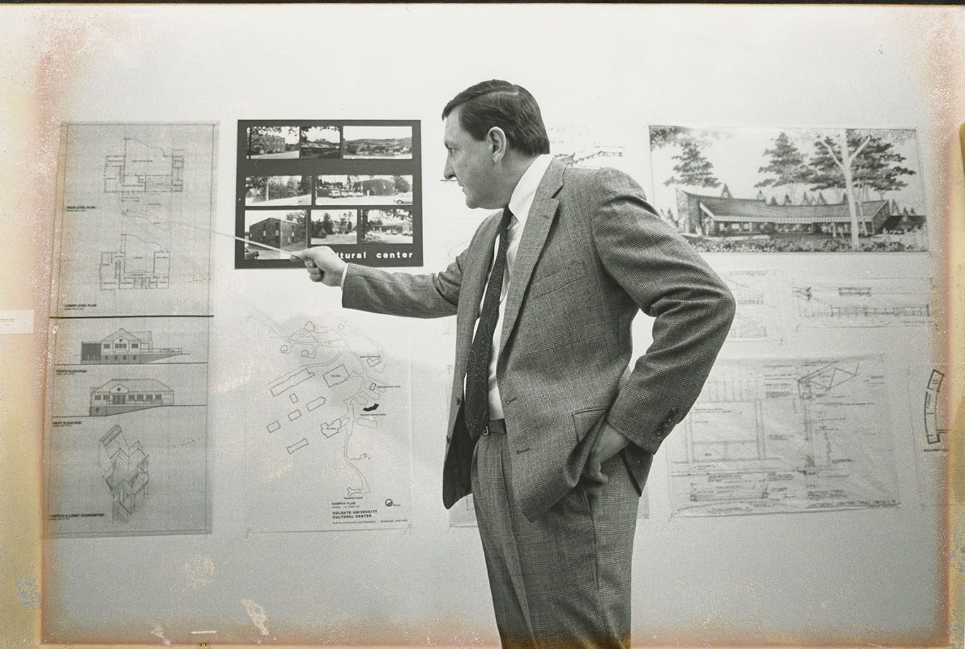 Individual presents plans for new cultural center, circa 1988