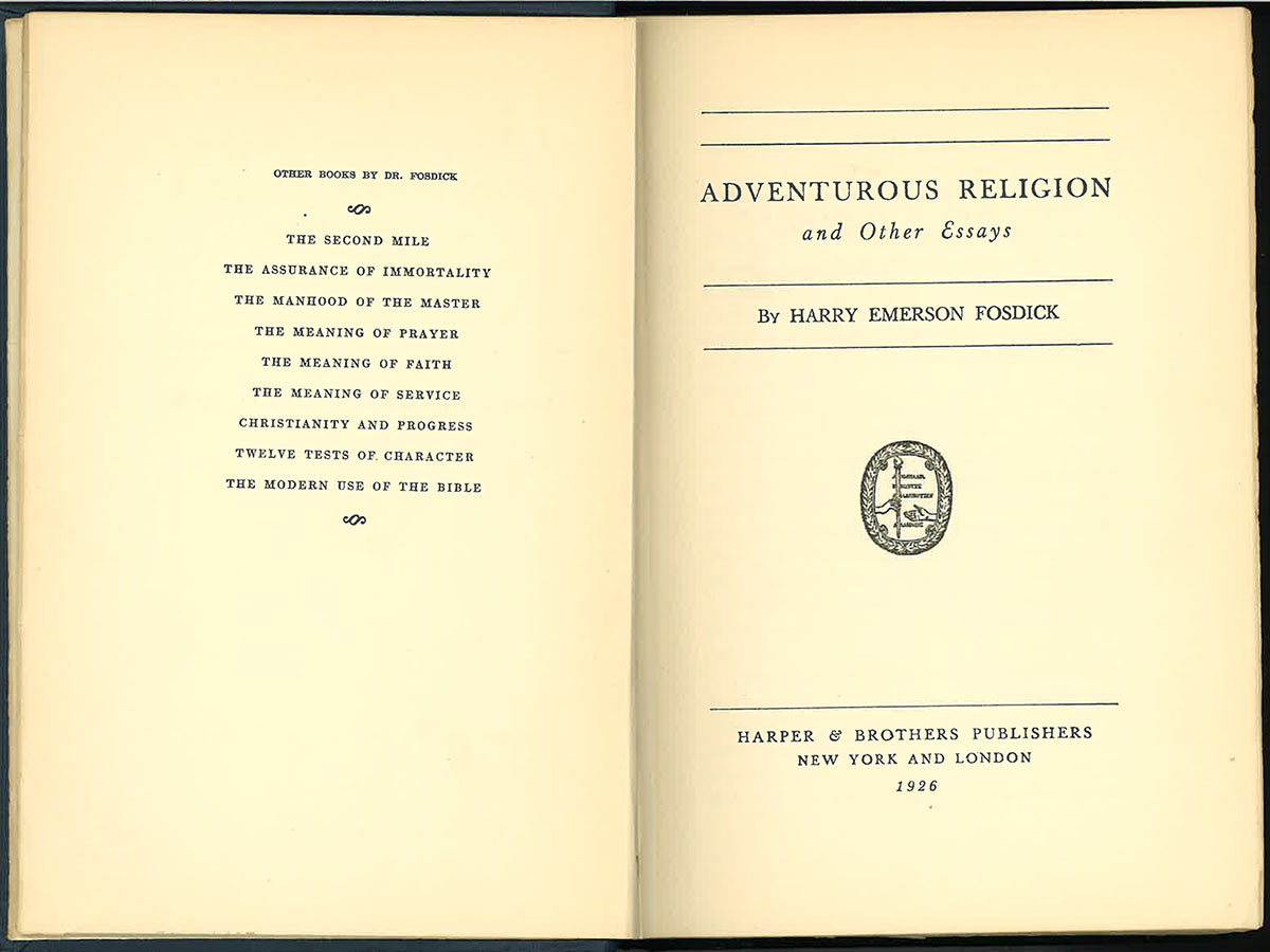 "title page of ""Adventurous Religion"""