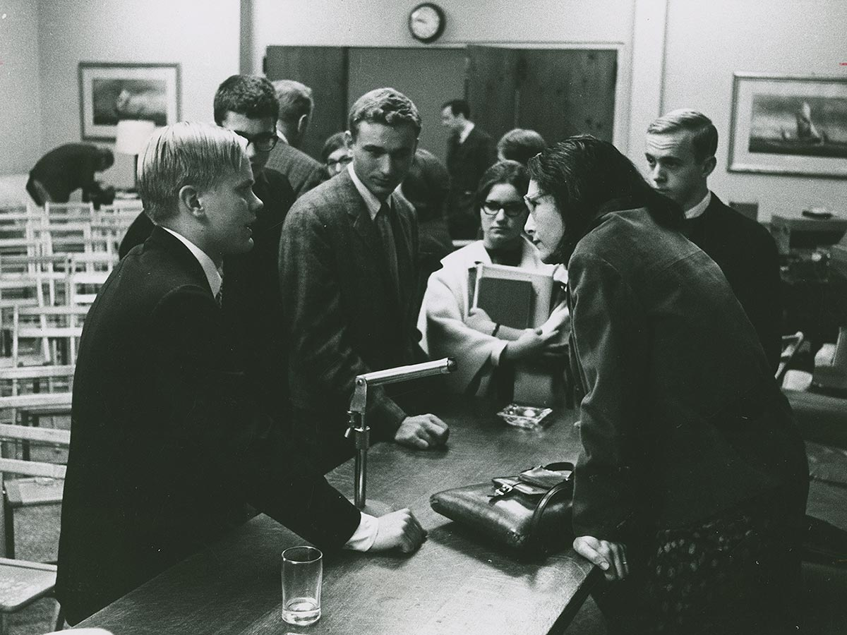 Poet Denise Levertov with students at the Festival of the Creative Arts, Oct 1964