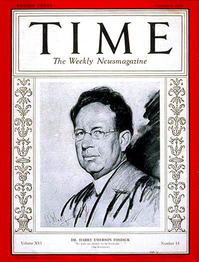 Fosdick on cover of Time magazine