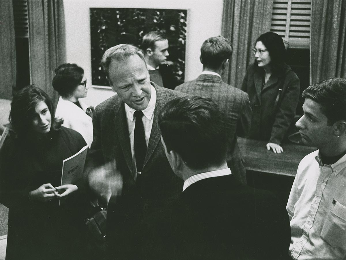 Students converse with poet James Dickey at the Festival of the Creative Arts, Oct 1964