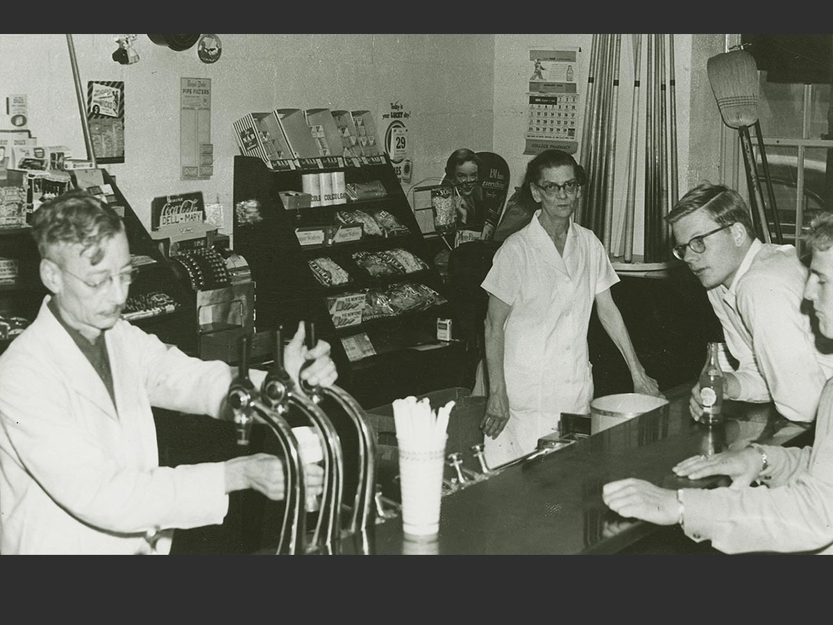 Students making purchases at the student union's soda fountain