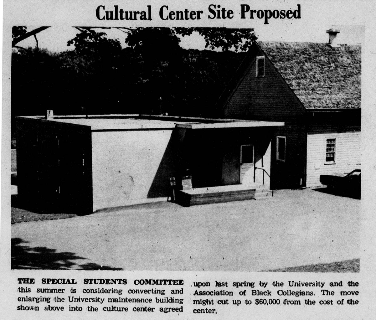 Maintenance building as proposed cultural center site, 1969