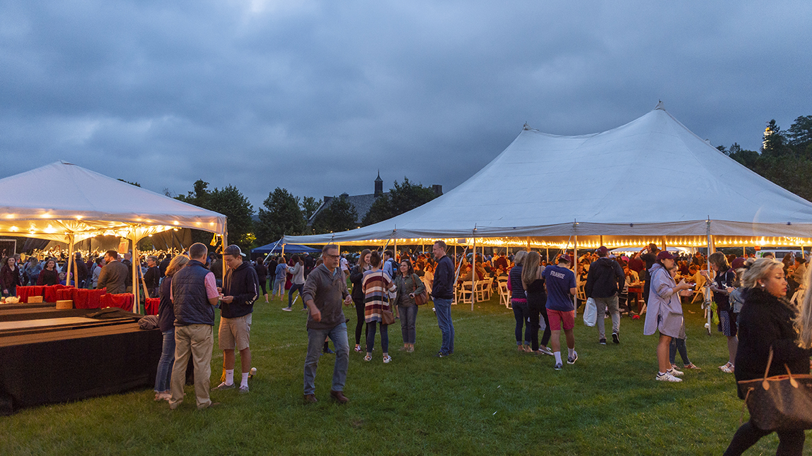 Attendees under the tents on Whitnall Field