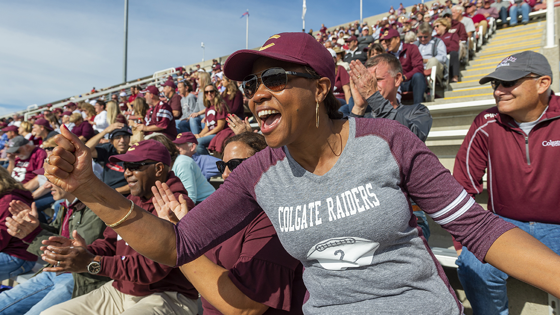 Fan cheers Colgate football during Bicentennial Kickoff Weekend