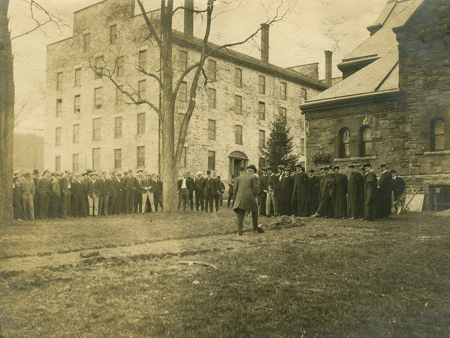 Groundbreaking for Carnegie addition, 1906