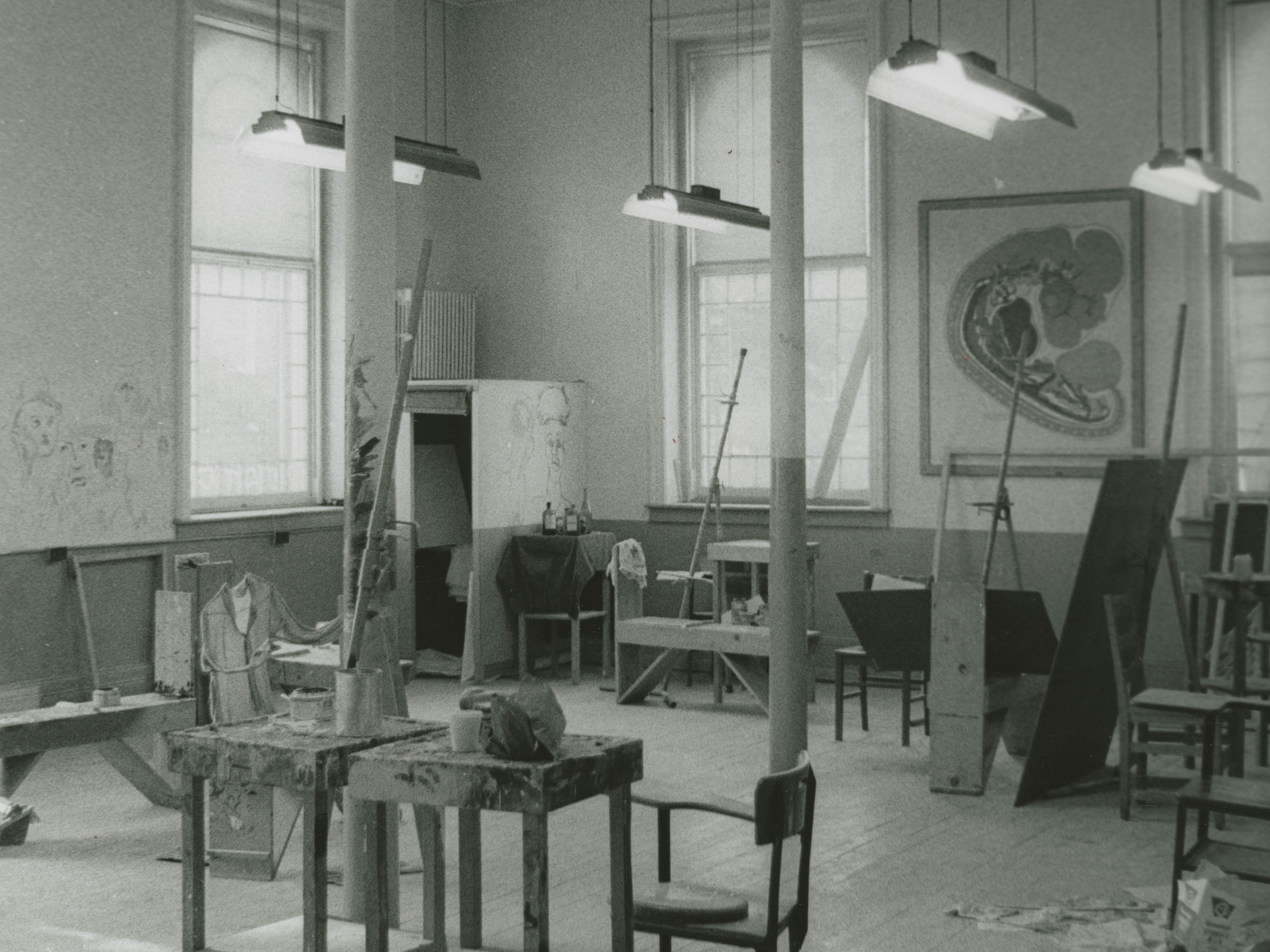 Interior of art studio in Biology Building [Hascall Hall]