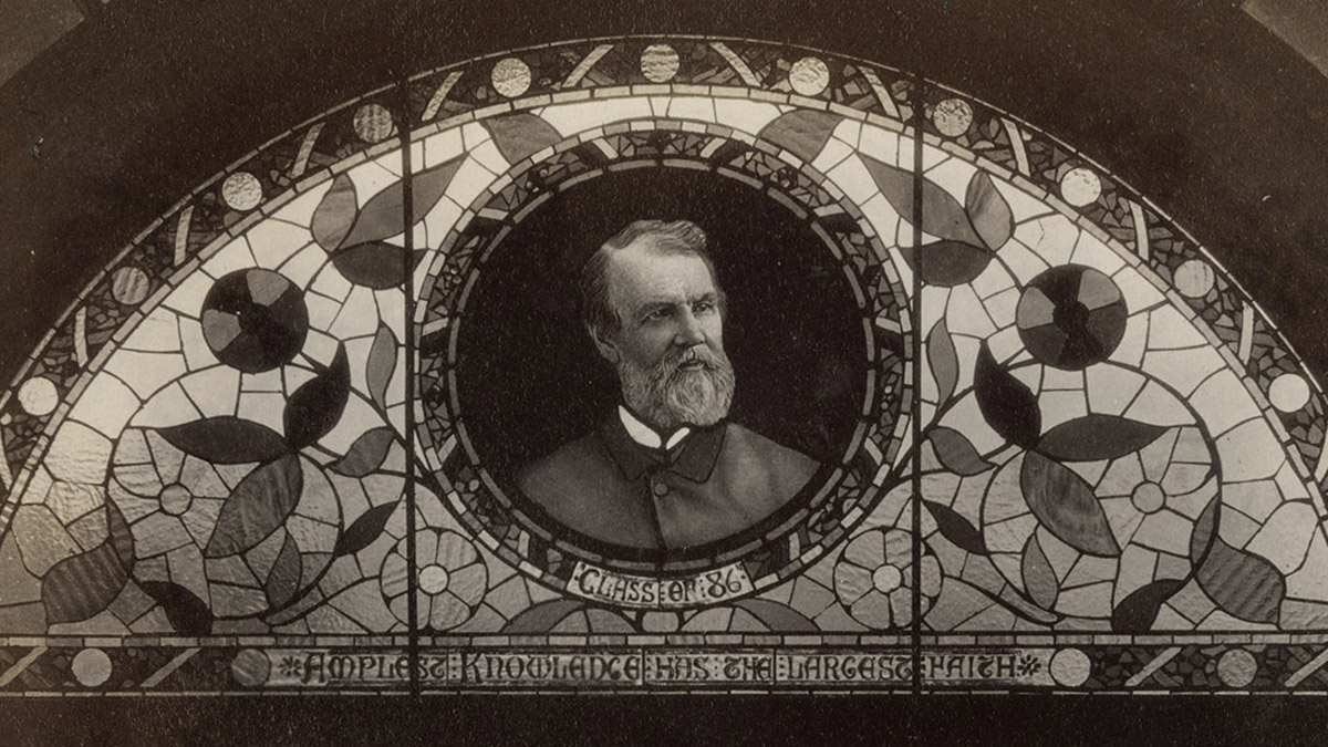 Stained glass window with President Dodge, circa 1891