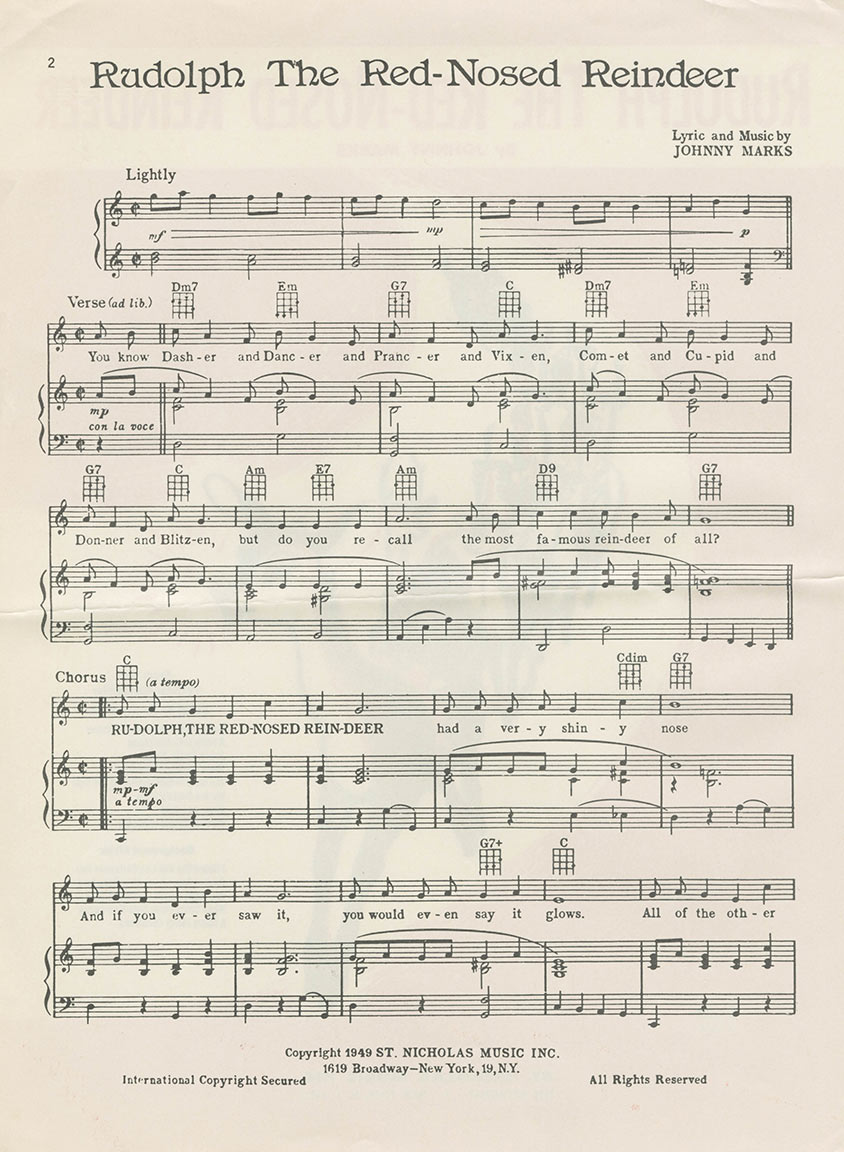 "Page 1 of sheet music to ""Rudolph the Red-Nosed Reindeer"""