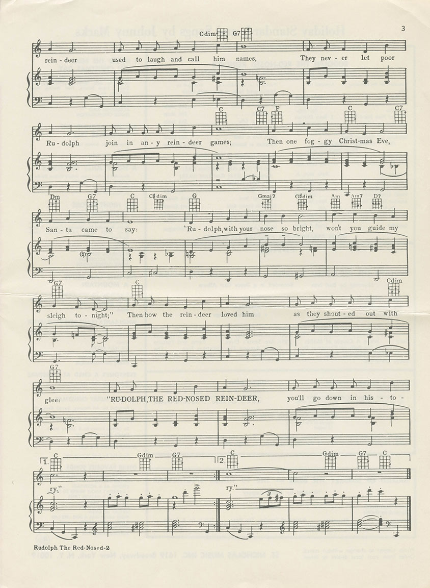 "Page 2 of sheet music to ""Rudolph the Red-Nosed Reindeer"""