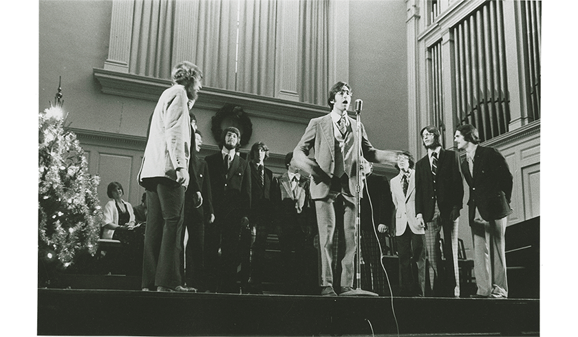 Archive photo of singing group onstage at Christmas concert