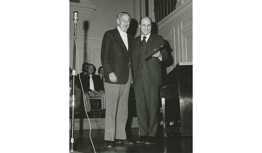 Johnny Marks with Colgate President Thomas Bartlett