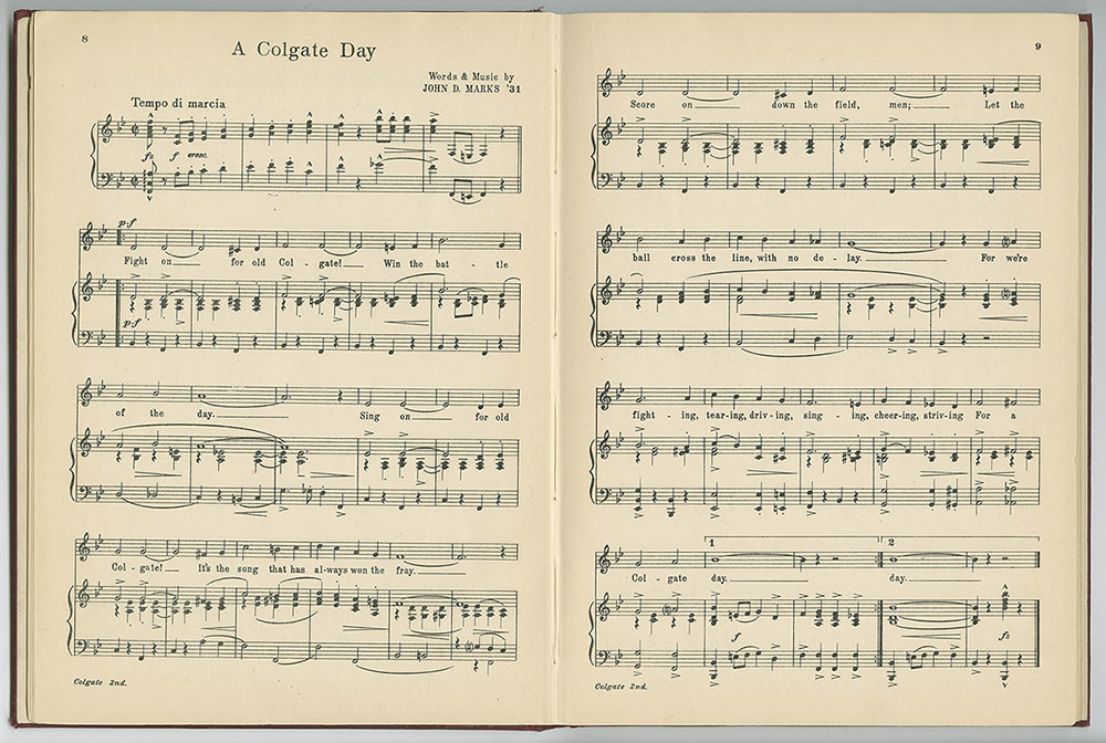"Sheet music for ""A Colgate Day"""