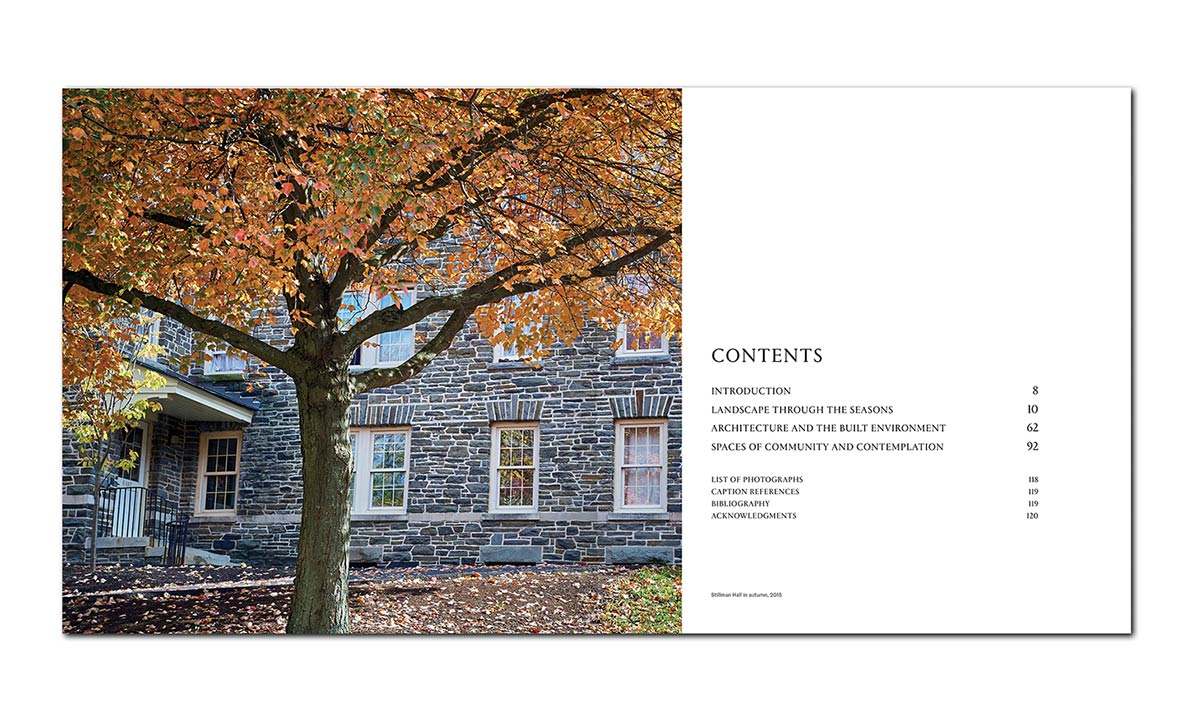 Table of contents featuring an image of a tree in autumn outside Stillman Hall