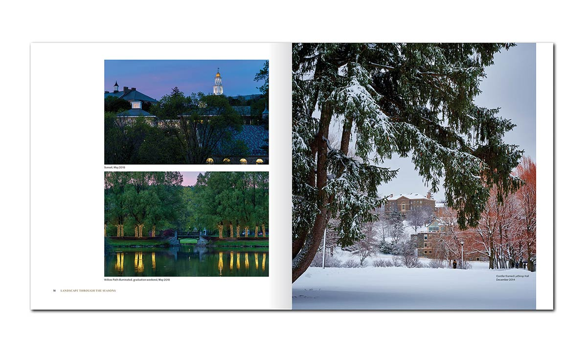 A spread of three Colgate campus beauty shots
