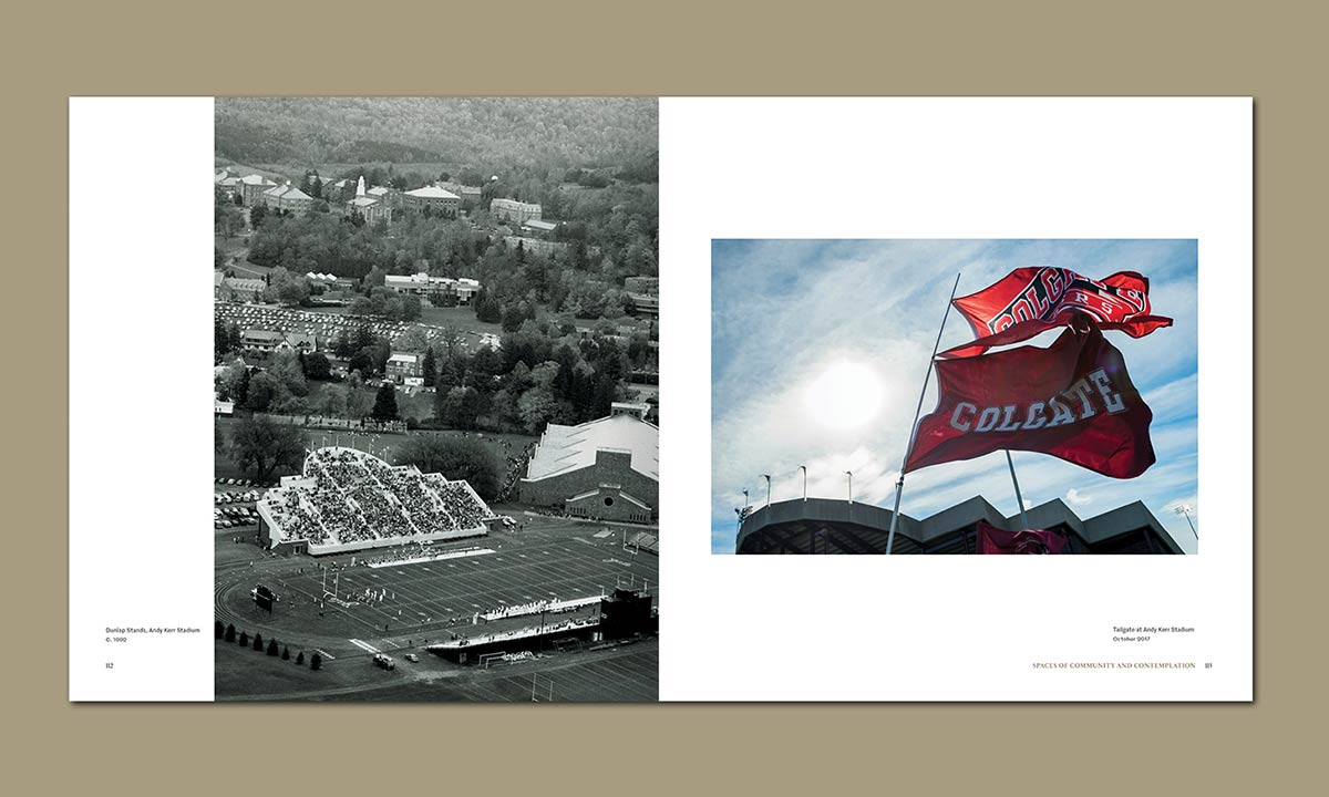 An aerial photo of a nearly full Andy Kerr stadium during a football game, and a photo of two Colgate flags flying behind the stadium