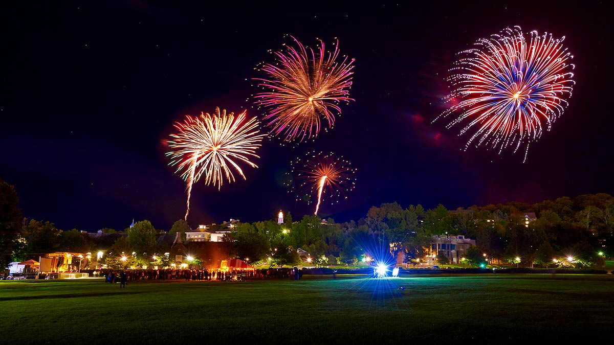 Fireworks over the Colgate University campus