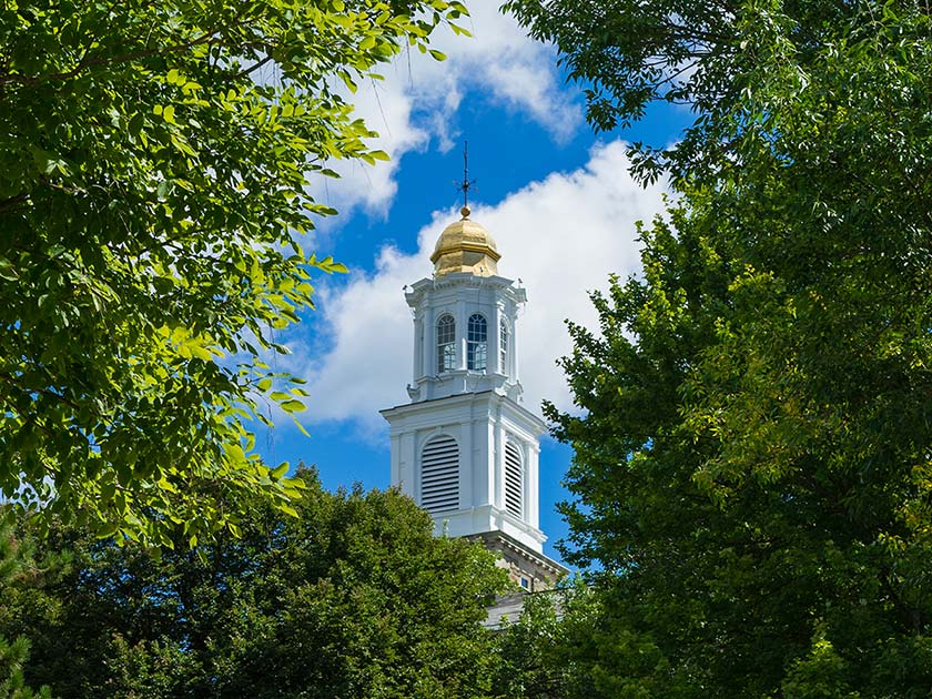 Cupola of Colgate Memorial Chapel through the trees