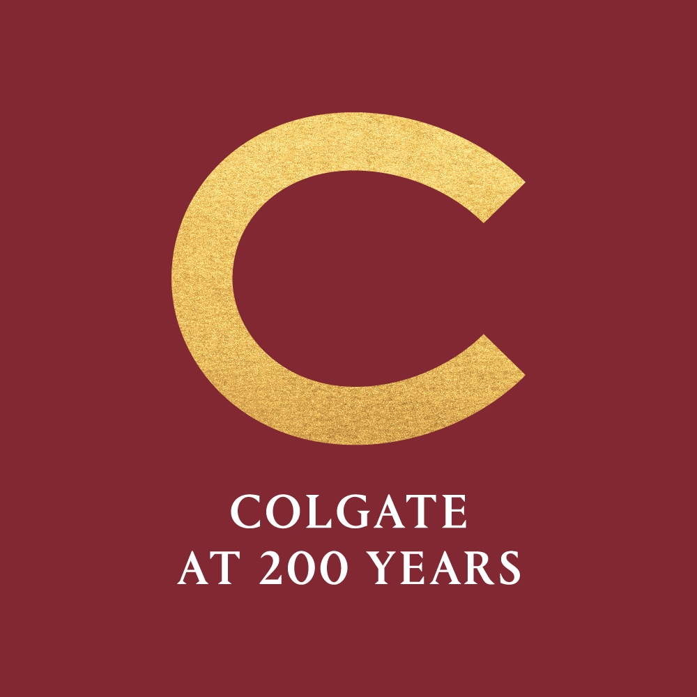 Colgate at 200 Years with a golden C against a maroon background