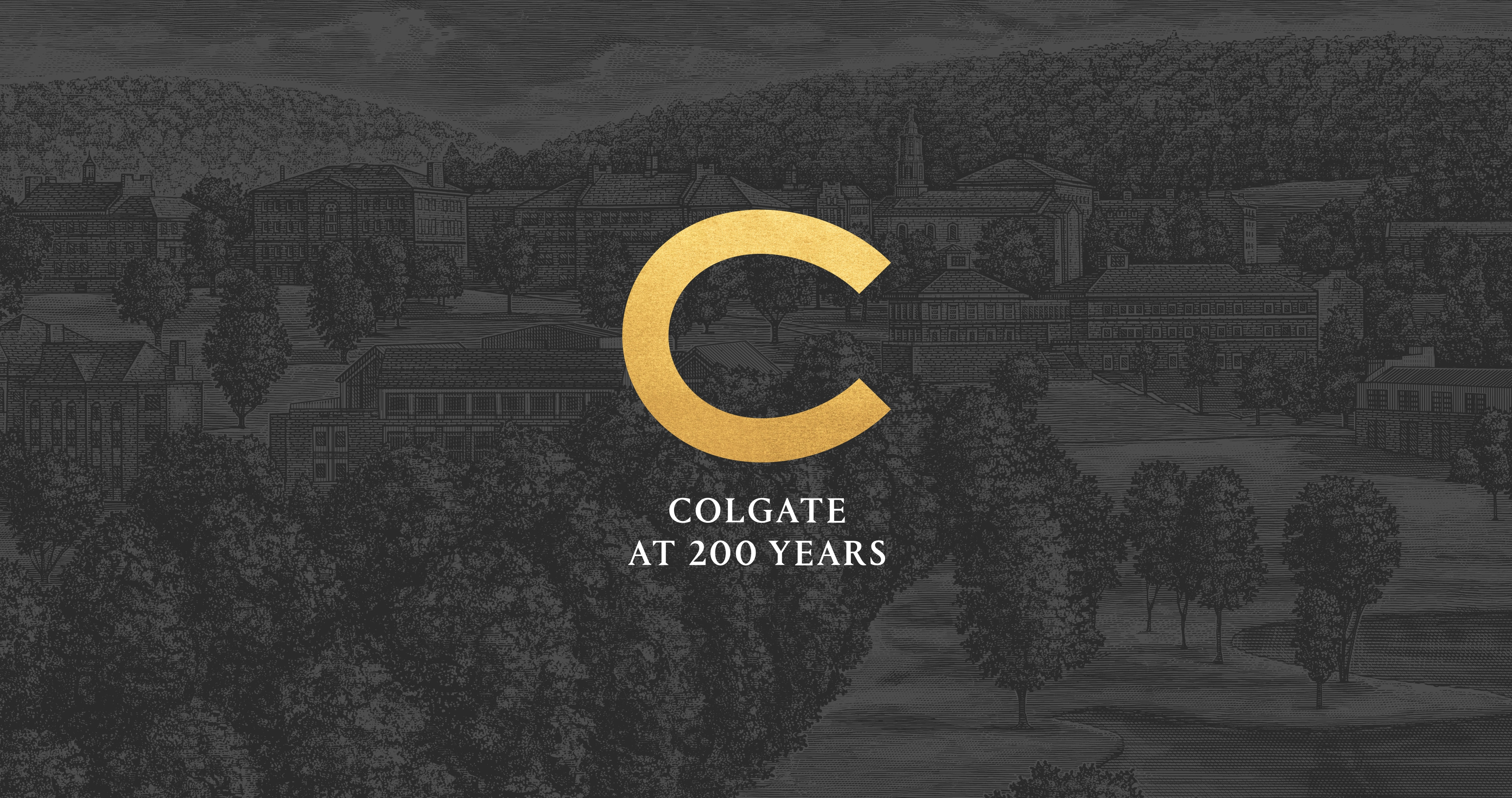 Colgate at 200 Years and logo over a dark-themed illustration of campus
