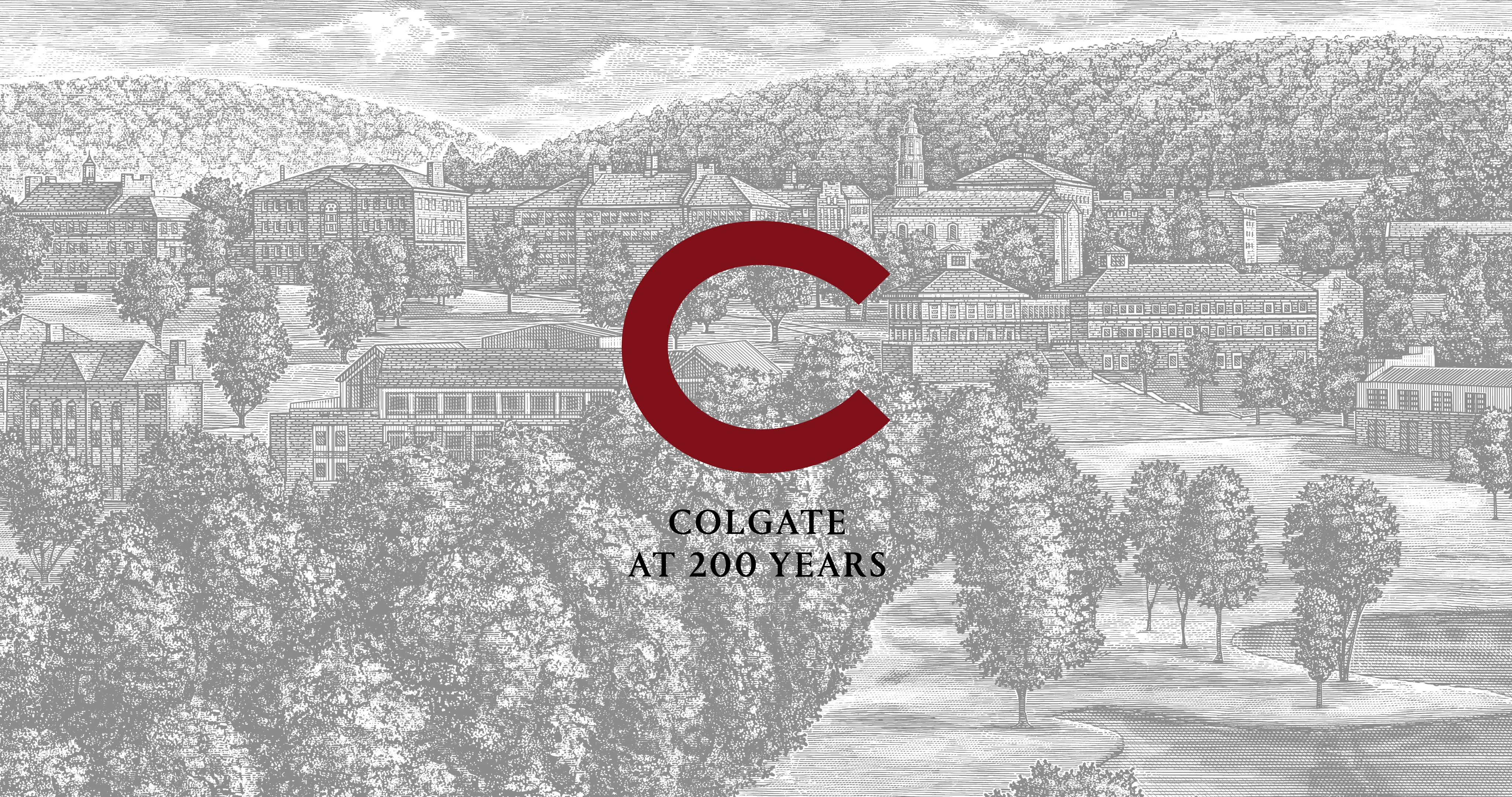 Colgate at 200 Years and logo over a light-themed illustration of campus