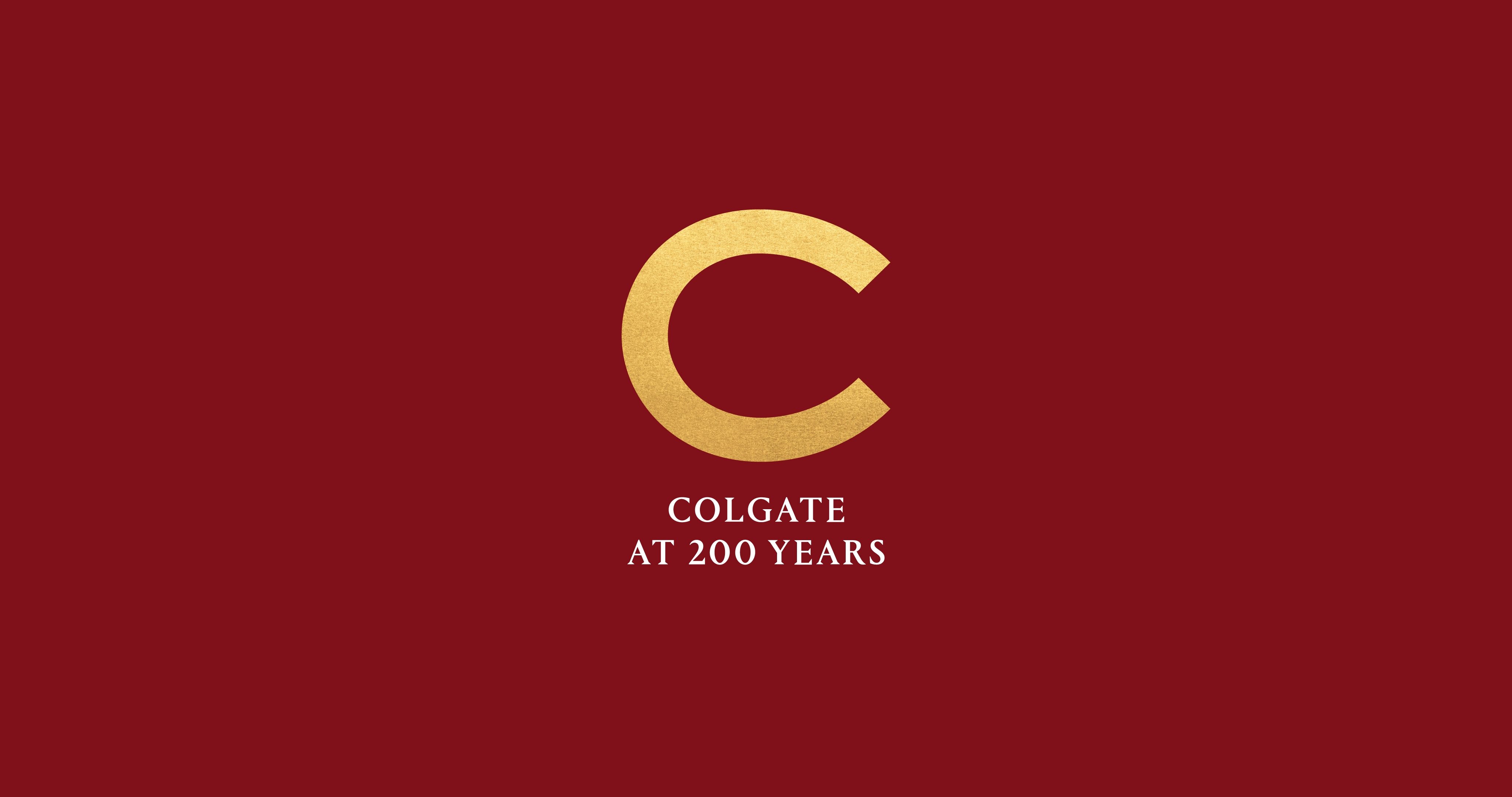 Colgate at 200 Years and logo over a maroon background