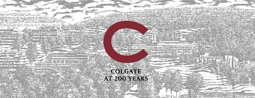 Colgate at 200 Years and a golden C against a light-toned illustration of campus