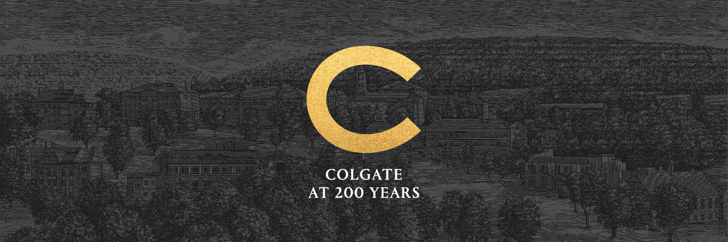 Colgate at 200 Years and a golden C against a dark-toned illustration of campus