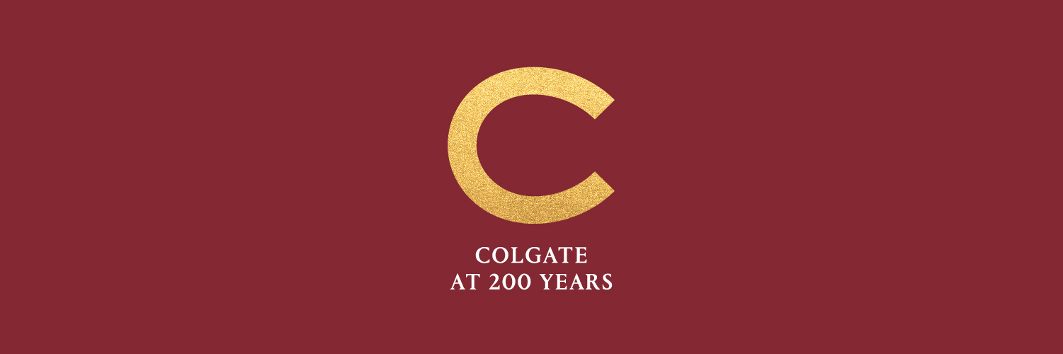 Colgate at 200 Years and a golden C against a maroon background