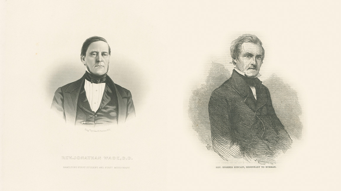 Illustrations of Colgate's first students Jonathan Wade and Eugenio Kincaid.