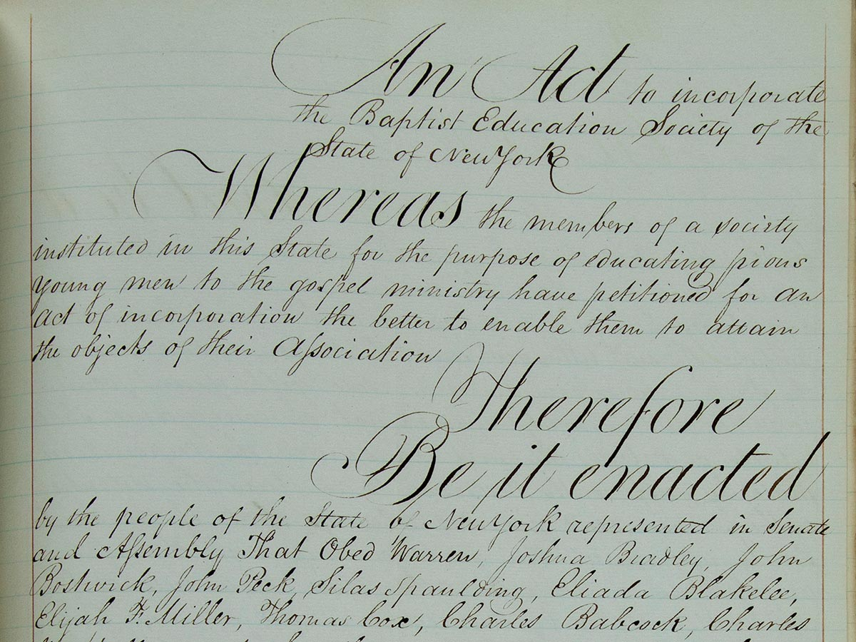 A scan of the opening lines of the institution's original charter