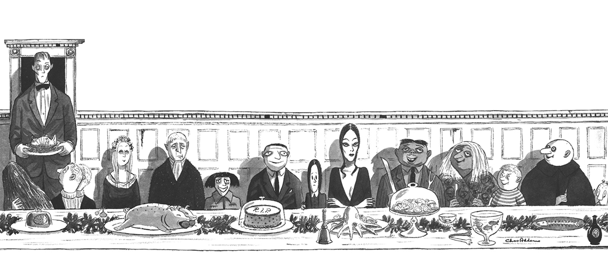 A cartoon of the Aadams Family enjoying a banquet of food.