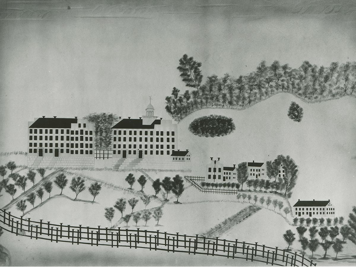 An illustration of the early Colgate campus in which East and West Halls feature prominently